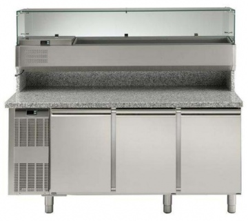 Electrolux 3 Door Refrigerated Pizza Counter with Refrigerated Show Case
