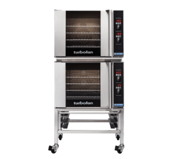 Turbofan E31D4/2C Digital Electric Convection Ovens Double Stacked With Castor Base Stand